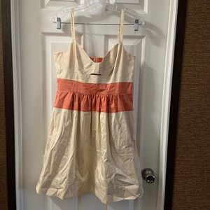 Jessica Simpson Cream/Orange Bow Bodice Dress 8